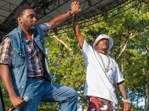 Rappers Big Daddy Kane (left) and Rakim perform at the '40th Anniversary of Hip-Hop Culture' concert at Central Park SummerStage, New York, New York, August 10, 2013. (Photo by Jack Vartoogian/Getty Images)
