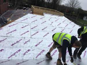 Insulation boards during fixing.