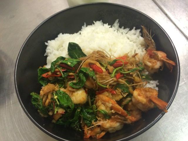 Stir-fried prawn with basil leaves กระเพรากุ้งราดข้าว