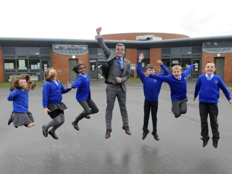 Layton Primary School's headteacher Jonathan Clucas, pictured before the pandemic while celebrating a complimentary Ofsted report with pupils (Picture: The Gazette archives)
