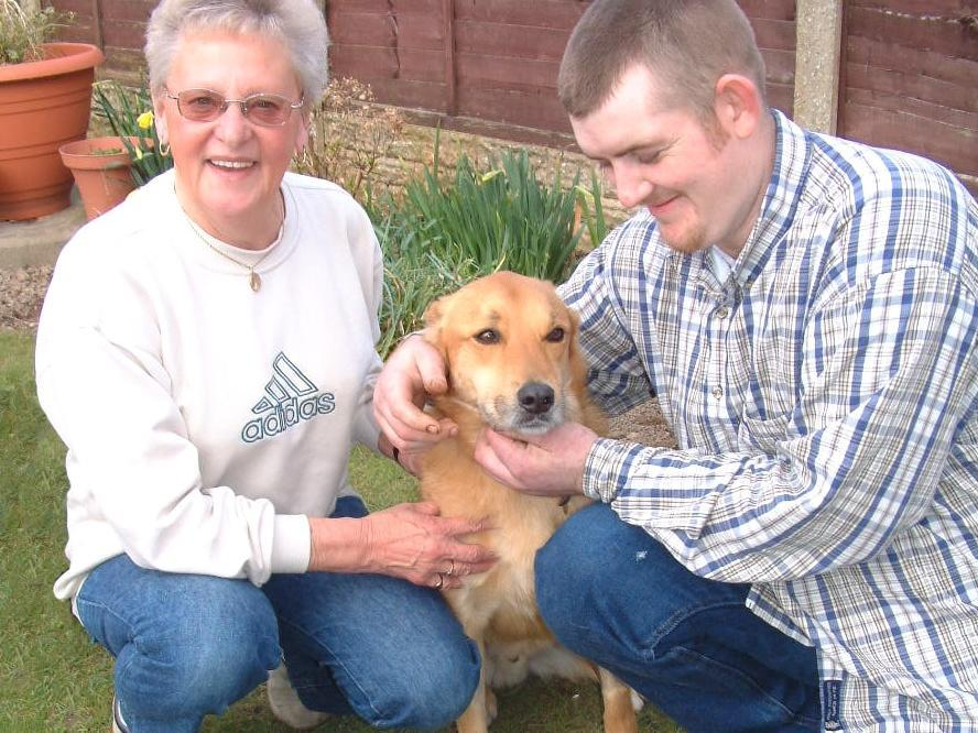 Marion Cross with hero John Clark who rescued Toby the dog when he ripped his leg open whilst being walked at King George's playing fields in Fleetwood.