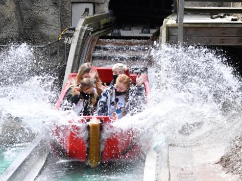 Riding the waves of the Rugrats log flume in Nickelodeon Land Coronation Street actress Harriet Bibby and friends celebrate her birthday at Blackpool Pleasure Beach during the park's 125th celebration season Pictures: Dave Nelson