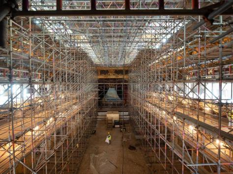 Miles of scaffolding were used during the project
