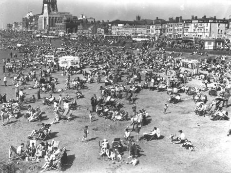 Deckchairs on the beach in Blackpool's heyday during the 1950s