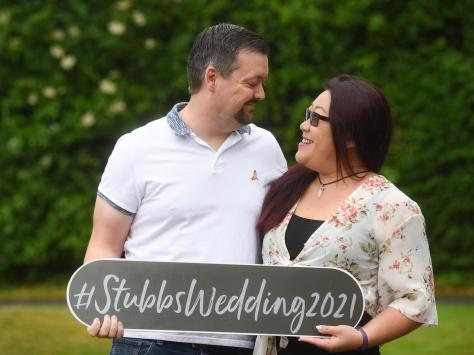 A reception party and evening meal have been postponed until August for the couple