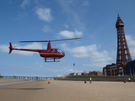 Dan arrived by helicopter on Blackpool beach
