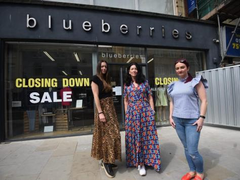 Sarah McConville owner , centre, Michelle Dickinson right, store manager and Jessica Coop, left, store assistant outside Blueberries in Topping Street