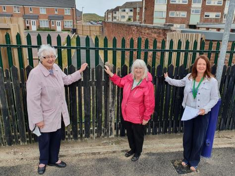 Fylde Council leader Coun Karen Buckley (right) with fellow ward councillors Coun Angela Jacques and Coun Delma Collins at the site of the intended access from the path into the station.
