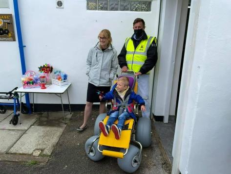 Cat Smith MP paying a visit to Fleetwood Beach Wheelchairs