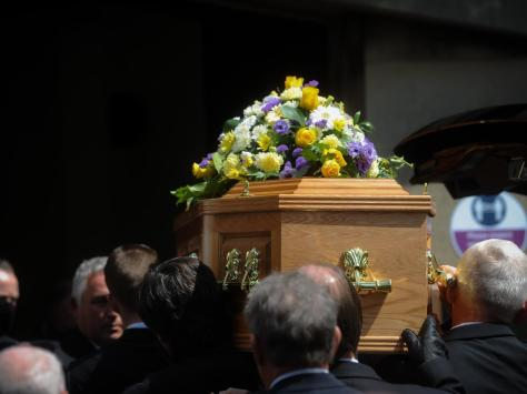 Brian London's coffin is taken into Carleton Crematorium