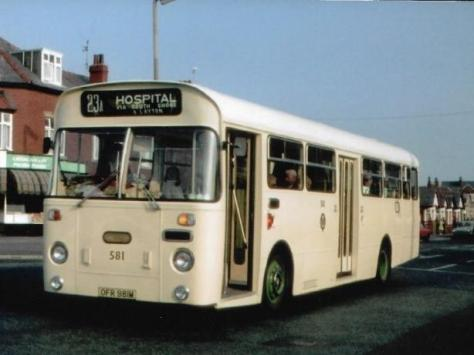 A 1960's cream coloured Blackpool bus on the hospital route