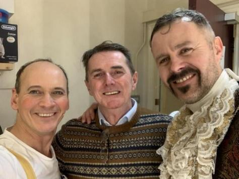 Tom Lister (right) prepares for the play with Steve Royle and writer David Slattery Christy