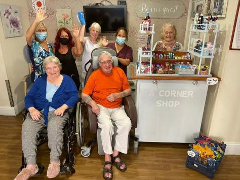 Shop ready for business - back row left to right. Diane Buckley. Jean Hamilton. Joyce Gillatt. Theresa Gleave. Doris Heslop. Front : Janet McDougall. Alan Gillatt