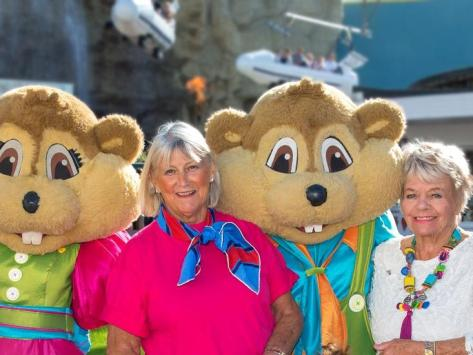 Barbara Thompson (centre) with Judith Chalmers and Pleasure Beach mascots