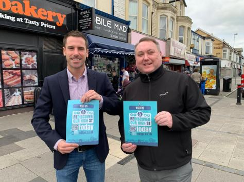Blackpool South MP Scott Benton with David Preston CEO of Offigo which is launching a new app aiming to revitalise Blackpool's high streets this month