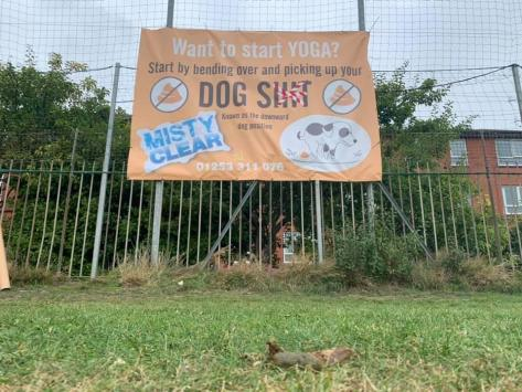 Dave Boyle, whose 10-year-old son plays for a grassroots junior football team at Fishers Field, attached the poster to fencing next to the Fishers Field football pitches in Highfield Road on Monday (September 6). Pic: Stephen Nightingale