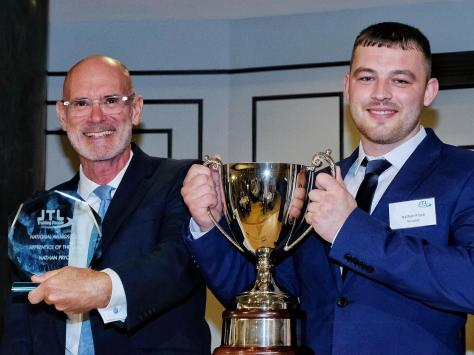 JTL chairman, Geoff Russell and top apprentice Nathan Pryce from Blackpool