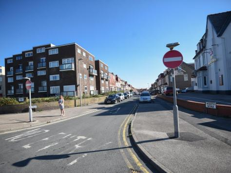 The 'No Entry' sign painted onto the road at the Promenade end of Hesketh Avenue is ignored by motorists, Michelle said. Pic: Daniel Martino/JPI Media