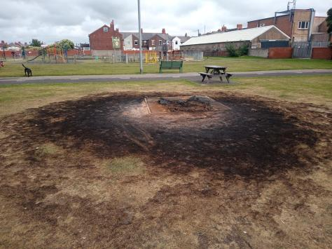The remains of the torched bench at Highfield Park