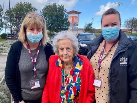 Mary Noone (right) and care co-ordinator Lorraine Smith  with Joan Patterson, who has celebrated her 105th birthday