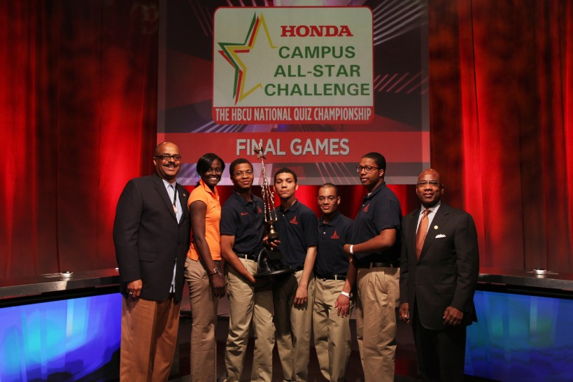 The team from Morgan State University celebrates on stage after their win over Oakwood University at the 2012 Honda Campus All-Star Challenge. On April 7-8, more than 250 students from 48 Historically Black Colleges and Universities will participate in the 2013 Honda Campus All-Star Challenge – the nation's only academic competition among HBCUs.  The winner will walk away with $50,000 in grant money for their University.