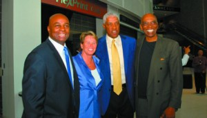 From left to right: Brian Taylor, Ann Meyers-Drysdale, Julius Erving, Joe Caldwell attend the chamber event