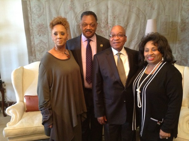 Jesse Jackson; wife, Jacqueline; and daughter, Santita, meet with South Africa President Jacob Zuma (Photo by George E. Curry/NNPA)