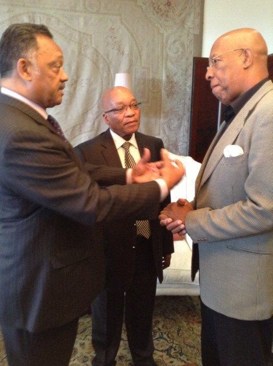 South Africa President Jacob Zuma (center) with Jesse Jackson (left) and RainbowPUSH International Director James Gomez (NNPA Photo by George E. Curry)