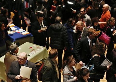 People wait in line to meet a job recruiter at the UJA-Federation Connect to Care job fair in New York March 6, 2013. Credit: Reuters/Shannon Stapleton