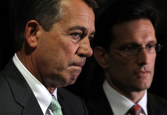 Alex Wong/Getty Images -  U.S. Speaker of the House Rep. John Boehner (R-Ohio), left, and House Majority Leader Rep. Eric Cantor (R-Va.) listen during a news briefing after a House Republican conference meeting in 2011 at Republican National Committee headquarters.