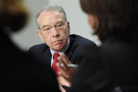 Grassley listens to a question during the 2009 Reuters Washington Summit in Washington