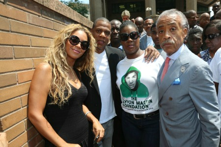 Beyonce, Jay-Z, Sybrina Fulton (mother of Trayvon Martin) and Al Sharpton at the Justice for Trayvon Martin Rally in NYC