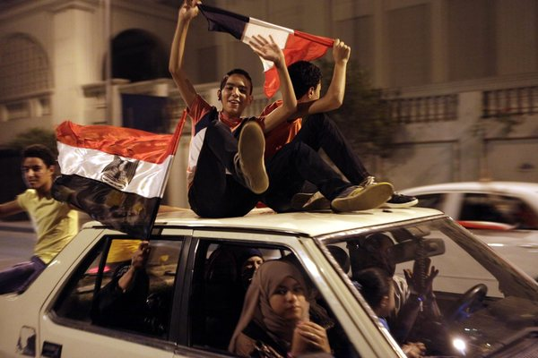 Celebrations in Cairo after Morsi ousted