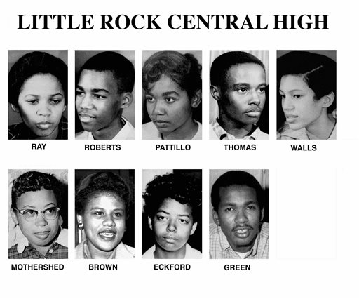 This undated file combination of photos shows Gloria Ray, Terrance Roberts, Melba Pattillo, Jefferson Thomas, Carlotta Walls, Thelma Mothershed, Minnijean Brown, Elizabeth Eckford, and Ernest Green. They are the nine students who entered Little Rock Central High under the protection of federal troops with bayonets in 1957 when Gov. Orval E. Faubus tried to block enforcement of the Supreme Court's 1954 Brown vs. Board of Education decision outlawing school segregation and  directed the Arkansas National Guard to keep the students from enrolling at the all-white Central High. President Eisenhower responded by sending in members of the Army's 101st Airborne Division to escort the students into the school on Sept. 25, 1957. Five decades and $1 billion after an infamous racial episode made Little Rock a symbol of school segregation, the legal fight to ensure all of its children receive equal access to education has ended. (AP Photo, File)