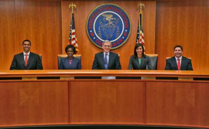 The FCC commissioners (left to right): Ajit Pai, Mignon Clyburn, Tom Wheeler (chairman), Jessica Rosenworcel, and Michael O'Rielly (Credit: FCC)