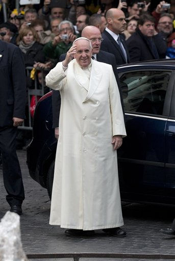 This Dec. 8, 2013 file photo shows Pope Francis as he arrives at the Spanish Steps to pray at the statue of the Virgin Mary, in central Rome on the occasion of the Immaculate Conception feast. (AP Photo/Alessandra Tarantino, File)