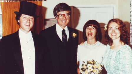 "Bill Clinton as Arkansas governor officiated Jim and Diane Blair's 1979 wedding and Hillary Clinton was ""best person."" (Courtesy of CNN)"