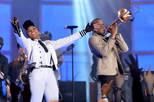 Janelle Monae and Trombone Shorty during the halftime show of the 63rd NBA All-Star Game 2014  at the Smoothie King Center on February 16, 2014 in New Orleans, Louisiana.