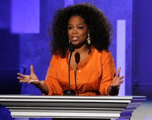 This Feb. 22, 2014 file photo shows Oprah Winfrey speaking at the 45th NAACP Image Awards  in Pasadena, Calif. (Photo by Chris Pizzello/Invision/AP, File)