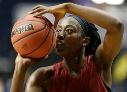 Stanford forward Chiney Ogwumike (13) during practice before the women's Final Four of the NCAA college basketball tournament, Saturday, April 5, 2014, in Nashville, Tenn. Connecticut plays Stanford Sunday. (AP Photo/Mark Humphrey)