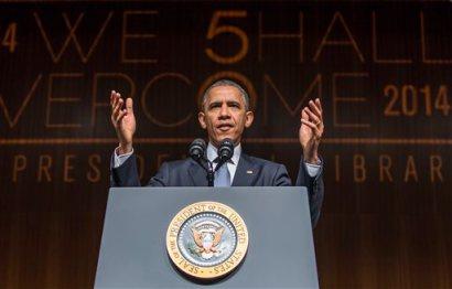 President Barack Obama gives a keynote address during the Civil Rights Summit on Thursday, April 10, 2014, in Austin, Texas.  (AP Photo/Austin American-Statesman, Ricardo B. Brazziell)