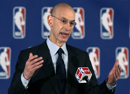 NBA Commissioner Adam Silver addresses a news conference in New York, Tuesday, April 29, 2014.  Silver announced that Los Angeles Clippers owner Donald Sterling has been banned for life by the league in response to racist comments the league says he made in a recorded conversation.(AP Photo/Kathy Willens)