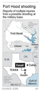 Map of Fort Hood (Courtesy of Associated Press)