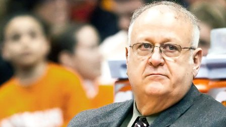 PHOTO: Syracuse assistant basketball coach Bernie Fine , shown in this March 2, 2010 file photo, was placed on administrative leave after child molesting allegations arose. (Cal Sport Media via AP Images)