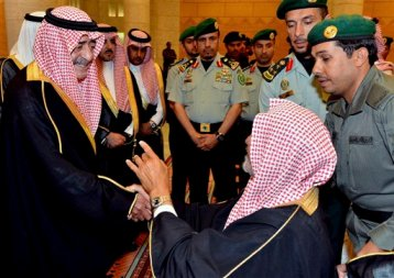 In this Wednesday, April 2, 2014, file photo released by Saudi Press Agency, Saudi Deputy Crown Prince Muqrin, left, meets with diplomats in Riyadh, Saudi Arabia. (AP Photo/SPA, File)