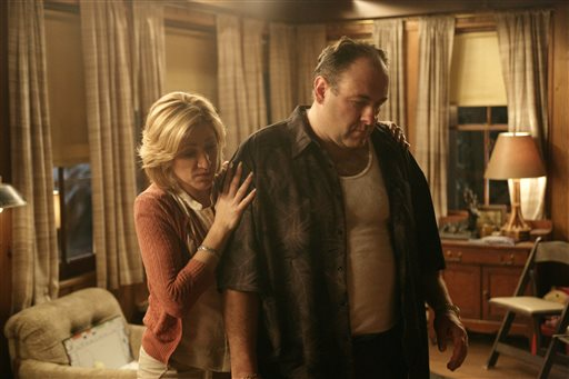 "In this file photo, originally released by HBO in 2007, Edie Falco portrays Carmela Soprano and James Gandolfini is Tony Soprano in a scene from one of the last episodes of the hit HBO dramatic series ""The Sopranos."" Amazon is teaming up with HBO, the first such streaming arrangement agreed to by the cable network, in a deal that will make available to Amazon Prime members some classic TV like ""The Sopranos"" and ""The Wire."" (AP Photo/HBO, Craig Blankenhorn, File)"