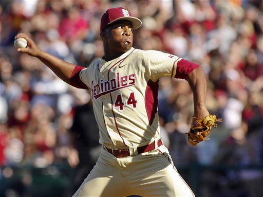 In this March 2, 2014, file photo, Florida State relief pitcher Jameis Winston sits in the dugout in the sixth inning of an NCAA college baseball game against Miami in Tallahassee, Fla. The Florida State baseball team has indefinitely suspended Heisman Trophy winner Jameis Winston, who is a relief pitcher for the Seminoles. Baseball coach Mike Martin said in a statement Wednesday, April 30, 2014, that Winston was issued a citation the night before, but he did not give specifics. The Leon County Sheriff's Office has declined comment. (AP Photo/Phil Sears, File)