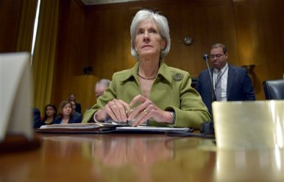 Health and Human Services Secretary Kathleen Sebelius listens on Capitol Hill in Washington, Thursday, April 10, 2014, during the Senate Finance Committee hearing on the HHS Department's fiscal Year 2015 budget. Sebelius said 7.5 million Americans have now signed up for health coverage under President Barack Obama's health care law. That's a 400,000 increase from the 7.1 million that Obama announced last week at the end of the law's open enrollment period. The figure exceeded expectations, a surprise election-year success for the law after a disastrous roll-out. (AP Photo/Susan Walsh)