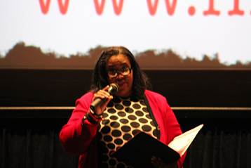 "Wells Fargo senior vice president, Georgette ""Gigi"" Dixon provided remarks during the launch of Wells Fargo and First Generation Films Go College! initiative in Los Angeles"