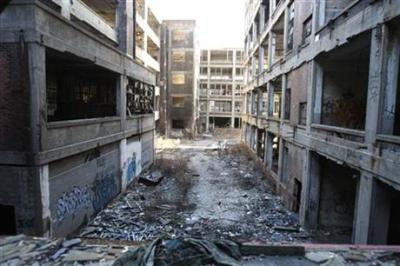 This Jan. 28, 2010 photo shows the abandoned 3.5-million-square-foot Packard car plant in Detroit. (AP Photo/Carlos Osorio)